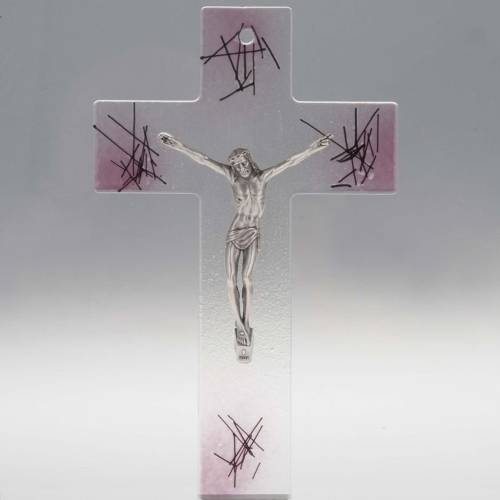 Modern crucifix in transparent glass with pink shades s1