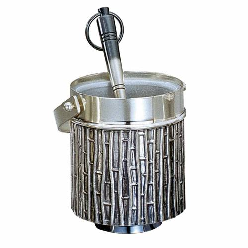 Molina Holy Water pot and sprinkler in silver brass s1
