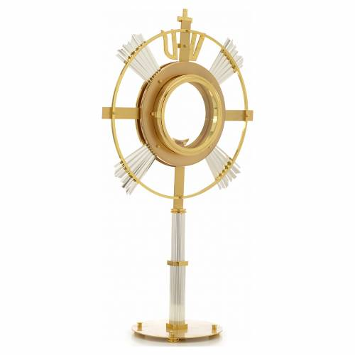 Monstrance in bi-coloured bronze with rays and IHS symbol s3