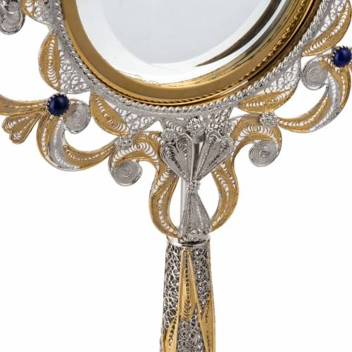 Monstrance in silver 800 filigree, removable pyx and lapis s5