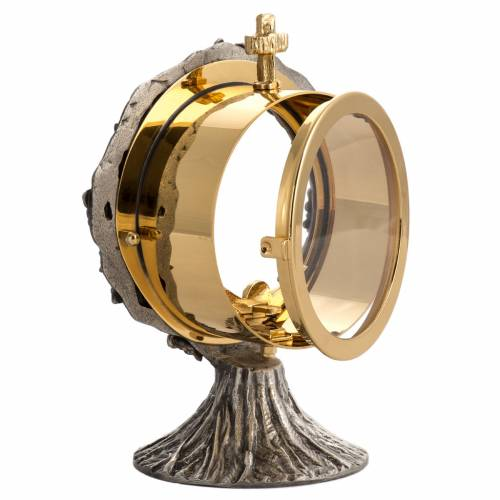 Monstrance shrine in brass with silver plating 5