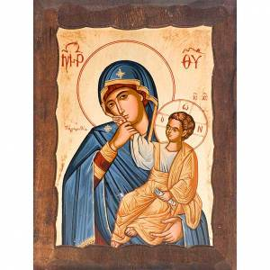Greek Icons: Mother of God Joy and Comfort with blue mantle