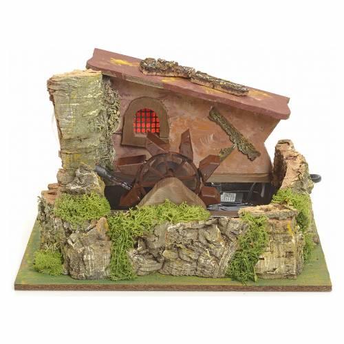 Moulin à eau électrique et maison décor crèche s1