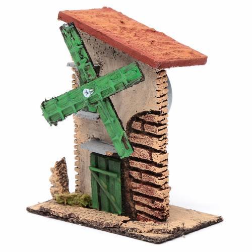 Moulin à vent toit irrégulier 12x10x6 cm bois et liège s2