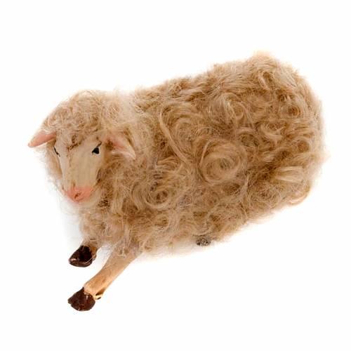 Mouton couché crèche 14 cm s1
