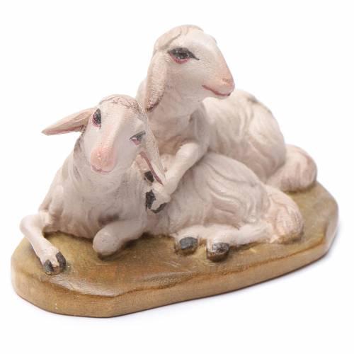 Moutons couchés 12 cm bois crèche Val Gardena s1