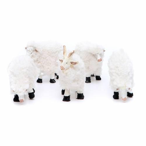 Moutons en résine et laine 8/10 cm 5 pcs s1