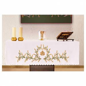 Nappe pour autel 165x300 cm épis de blé verts et dorés s1