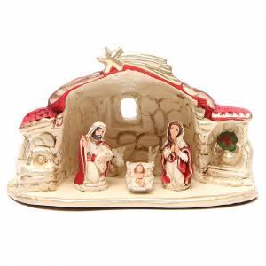 Belén terracota Deruta: Natividad con cabaña terracota rojo h. 15x20x11 cm