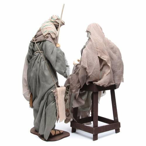 Natività 75 cm stoffa marrone sedia s4