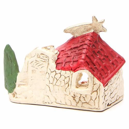 Nativité et cabane terre cuite décor rouge 10x12x6 cm s4