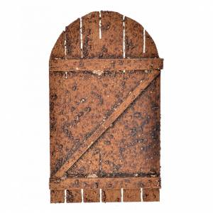 Balustrade, doors, railings: Nativity accessory, wooden arched door 12x7cm