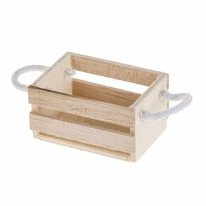 Miniature tools: Nativity accessory, wooden box with rope handles