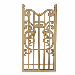 Balustrade, doors, railings: Nativity accessory, wooden gate 12x6cm