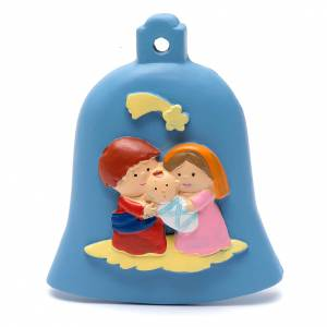 Christmas tree ornaments in wood and pvc: Nativity blue bell decoration 8 cm