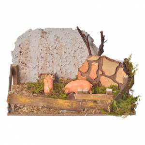 Nativity figurine, corral with pigs and sound s1
