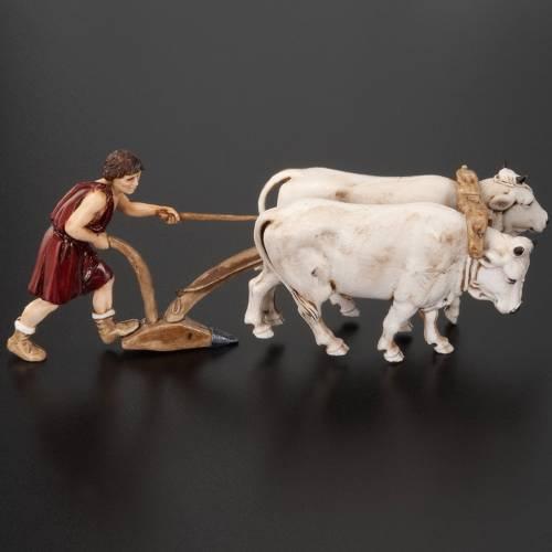 Nativity figurine, farmer plough and oxen 10cm, resin Moranduzzo s5
