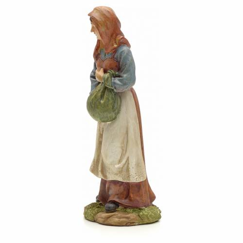 Nativity figurine, resin woman with bundle 20cm s2