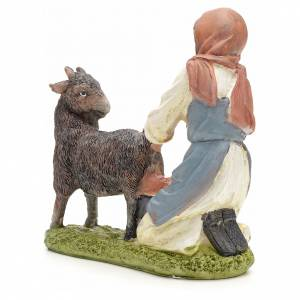 Nativity figurine, shepherdess milking cow 21cm s3