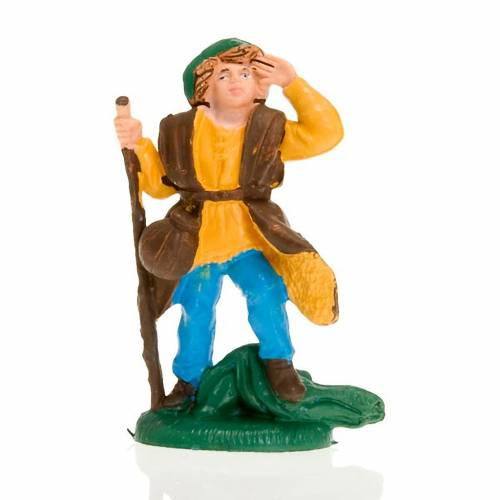 Nativity figurine, wayfarer with stick, 8 cm s1