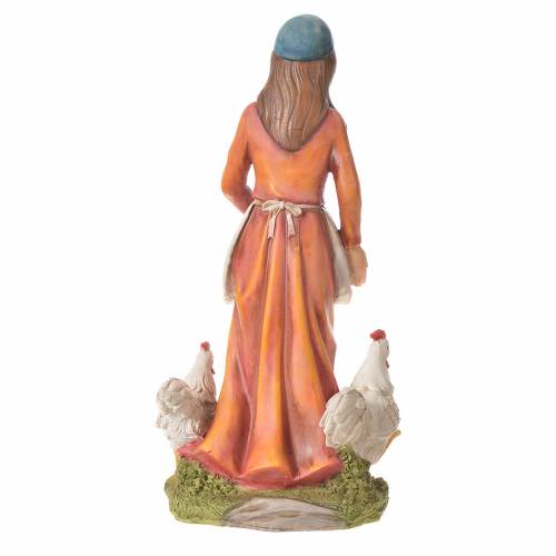 Nativity figurine, woman with hens, 30cm resin s6