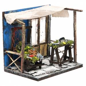 Nativity fishmonger stall in wax, 18x20x14cm s3