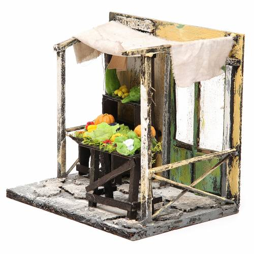 Nativity Fruit seller stall in wax, 18x20x14cm s2