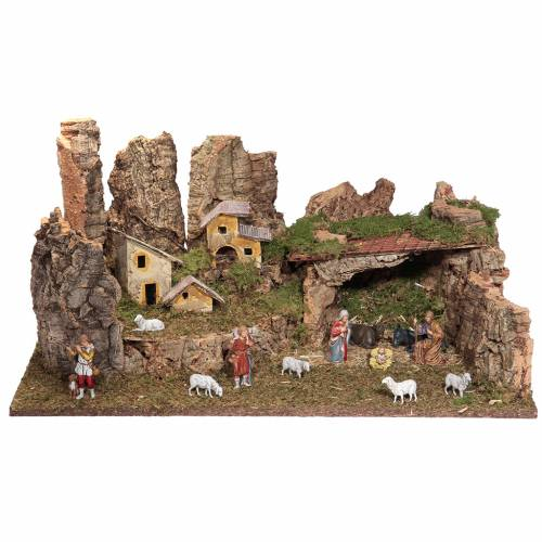 Nativity grotto with landscape and lights 28x58x32cm s4