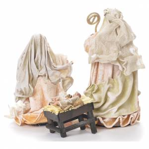 Nativity in fabric and resin 25.5cm, antique finish s3