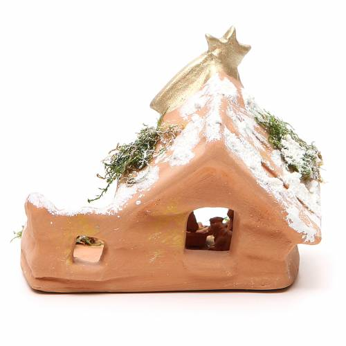Nativity in Terracotta with Snow 10x12x7cm s4
