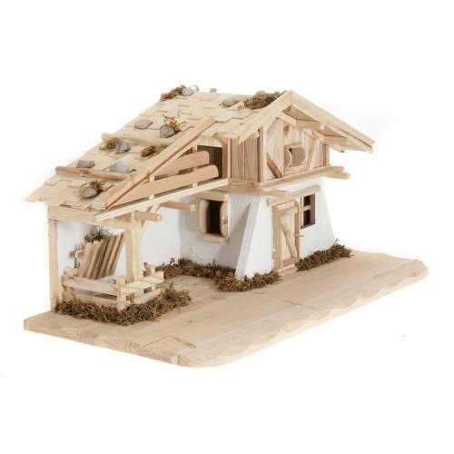 Nativity scene accessory, hut, natural wood, 60x30x30 cm s2