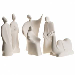 Stylized Nativity scene: Nativity scene, Bethlehem in fire clay, 30cm