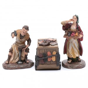 Nativity Scene figurines: Nativity scene characters shoemakers with counter resin 20 cm set of 3 pieces