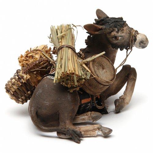 Nativity scene figurine, donkey 13cm terracotta, Angela Tripi s3