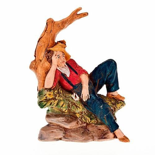 Nativity scene figurine, man resting under a tree 13cm s1