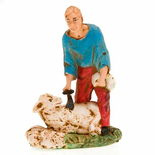 Nativity scene figurine, sheep shearer with sheep 10cm s4