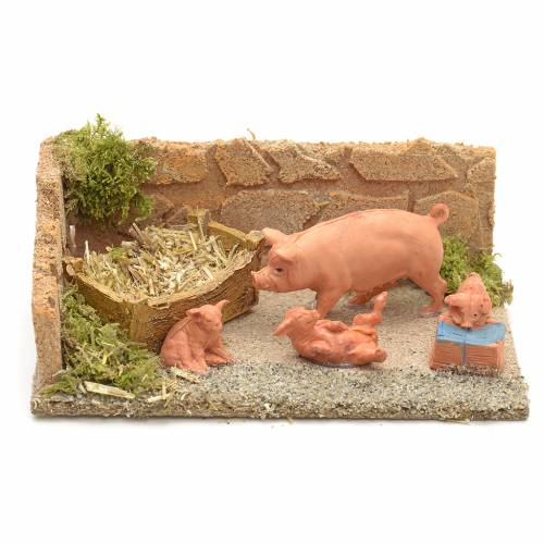 Nativity scene figurines, pigs family s1