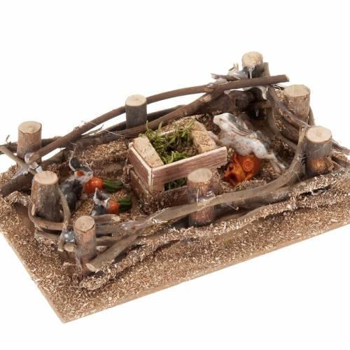 Nativity scene figurines, rabbits pen 16x10cm s2