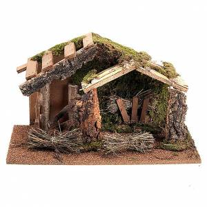Nativity scene, hut with hay and wooden roof, 43x24x25cm s1