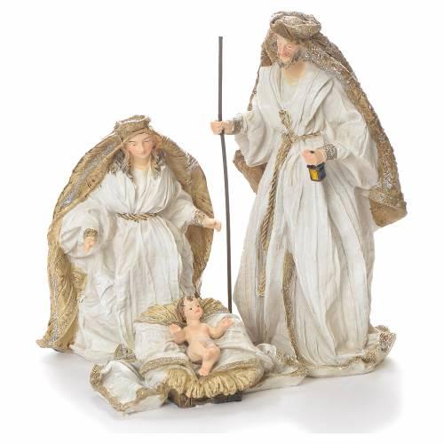 Nativity scene in resin, 19cm white and gold s1