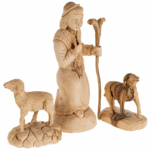 Nativity scene olive wood, Bethlehem 14 cm s9