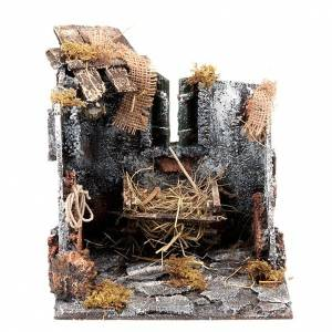 Neapolitan Nativity Scene: Nativity scene set stable with manger and light 25cm