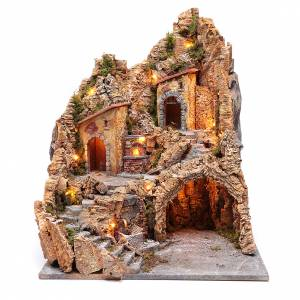 Neapolitan Nativity Scene: Nativity scene setting with lights and oven 60X45X45 cm