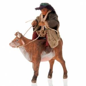 Neapolitan Nativity Scene: Nativity set accessory Countryman on ox 10 cm figurine