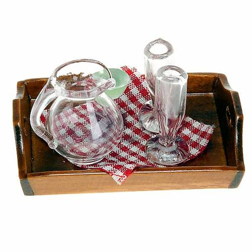 Nativity set accessory, tray with jug and 2 glasses s1