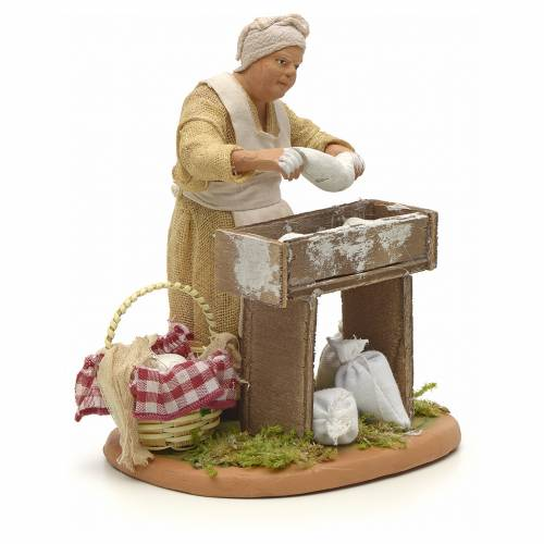 Nativity set accessory woman making bread 14 cm figurine s4