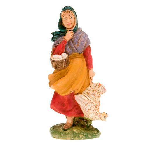 Nativity set accessory, woman with chicken figurine s1