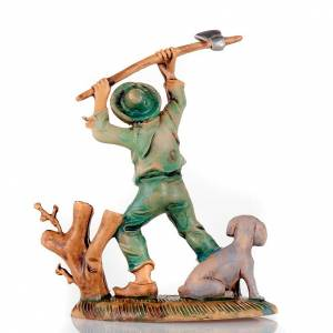 Nativity set accessory, Woodcutter with hatchet and dog s2