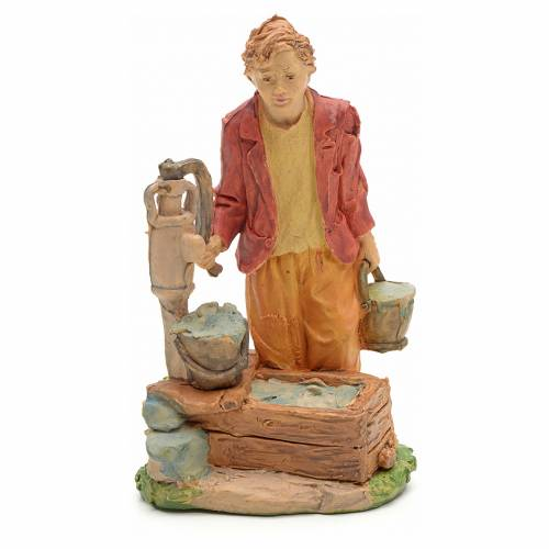 Nativity set figurine, young boy at the fountain 13cm 1