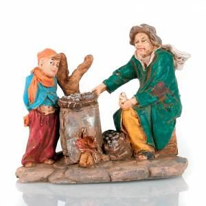 Nativity set, Roast chestnut seller figurine with boy s3
